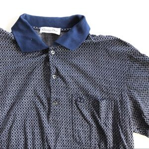 Mens Christian Dior Navy Blue Polo Tee small
